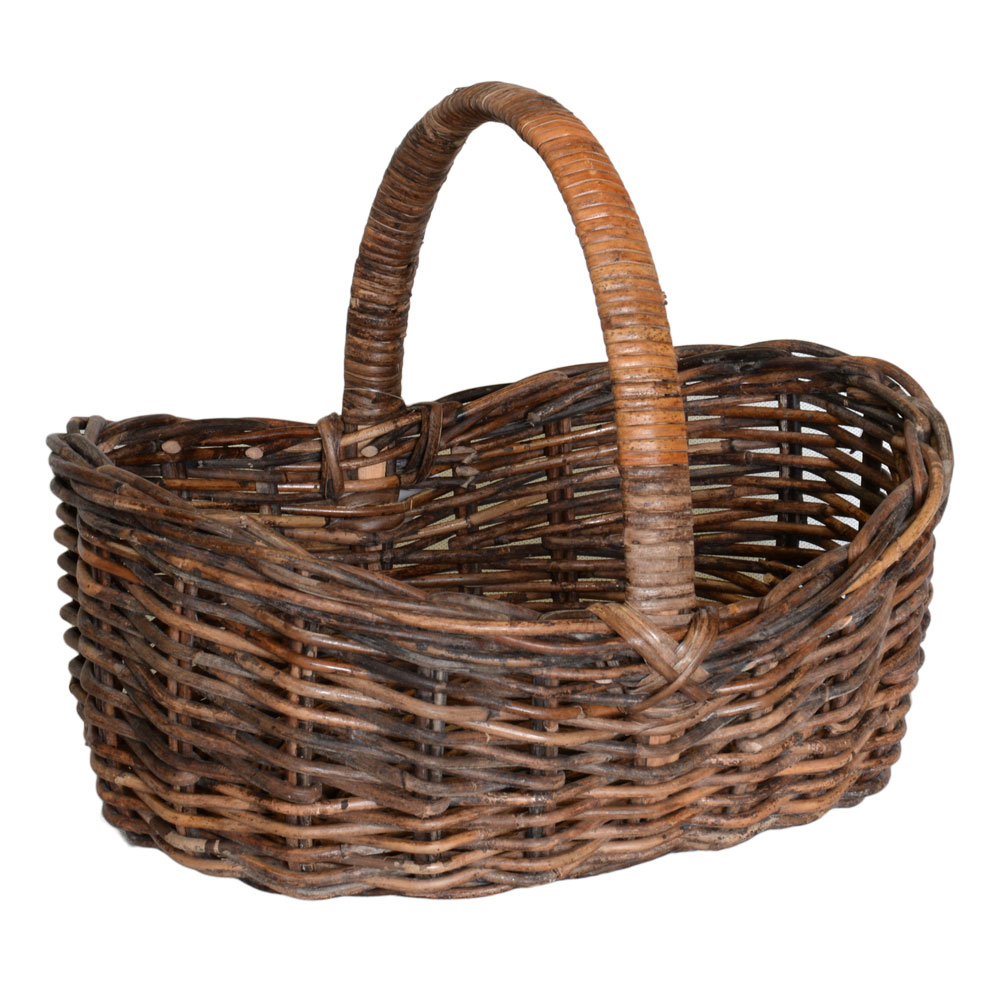 05/6202 Oval Croco Rattan Scooped Shopping Basket
