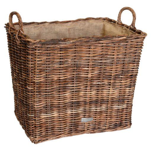10/6010 Oblong Croco Rattan Hessian Lined Log Baskets
