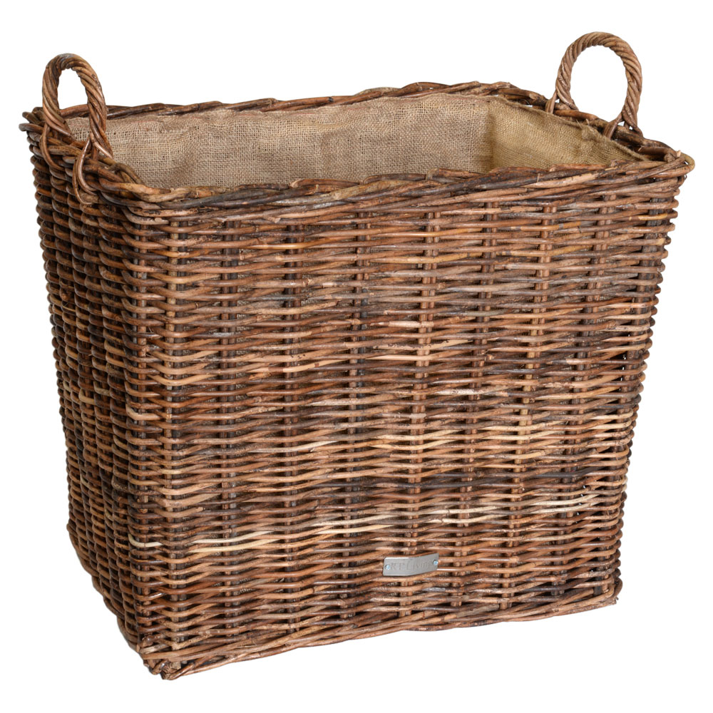 10/6010 Oblong Croco Rattan Hessian Lined Log Baskets
