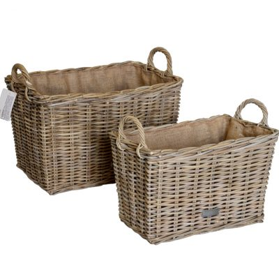 10/6853 Set of 2 Oblong Grey Hessian Lined Log Baskets
