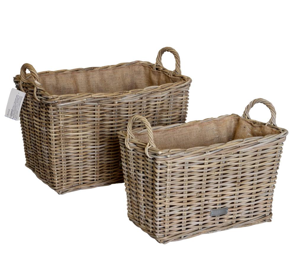 10/6853 Set of 2 Oblong Grey Hessian Lined Log Baskets