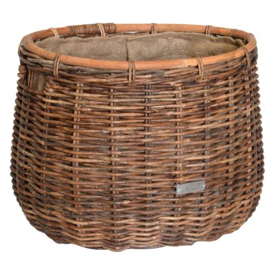 10/6933 Oval Croco Rattan Hessian Lined Log Basket