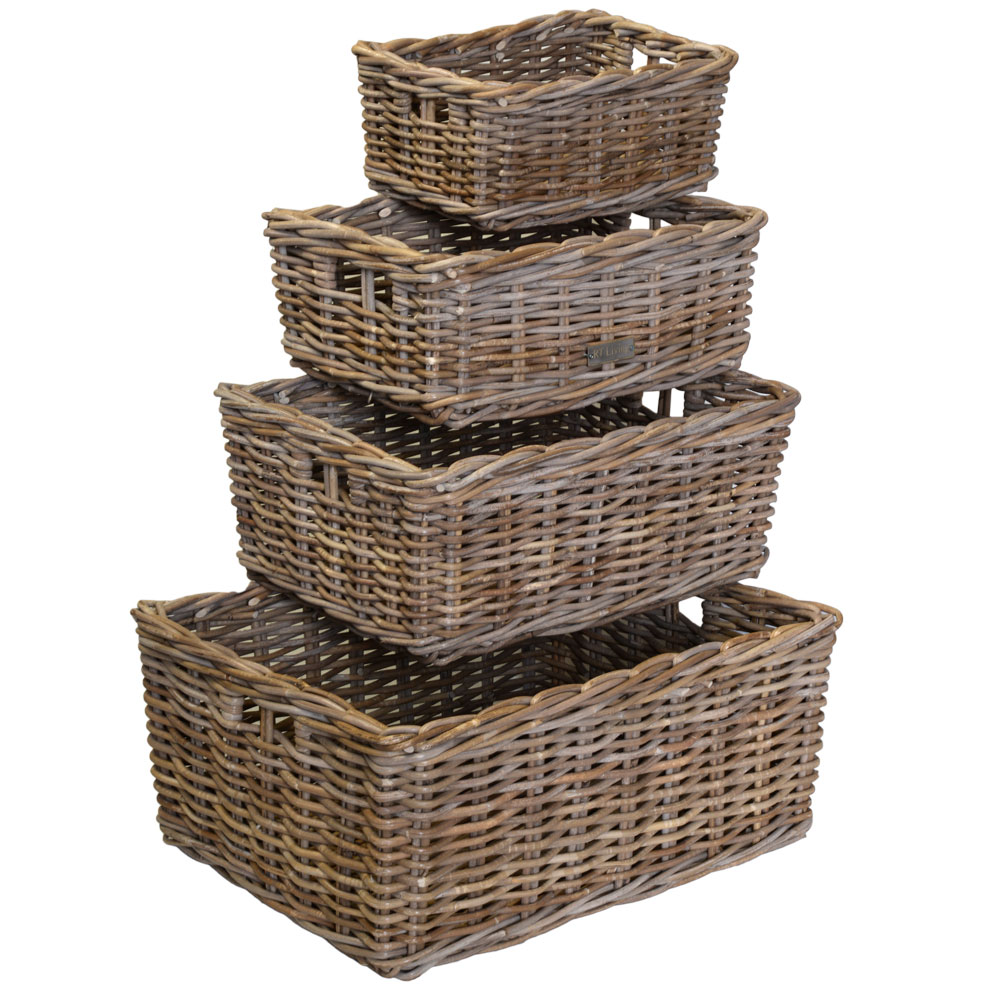 11/6700 Set of 4 Oblong Grey Storage Baskets