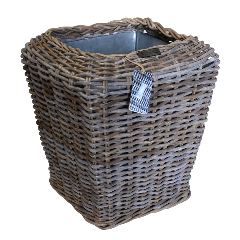 02/8200 Square Grey Rattan Planter with Zinc Liner