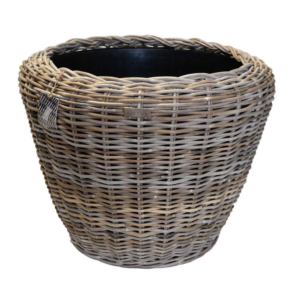02/8201 Jumbo Round Grey Rattan Planter with Plastic Liner