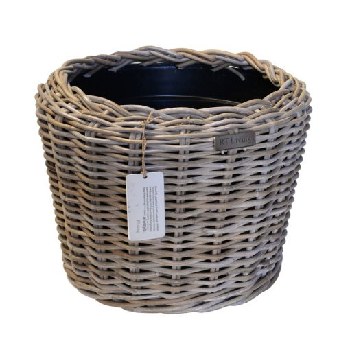02/8202 Round Grey Rattan Planter with Plastic Liner