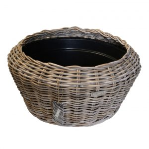 02/8203 Round Grey Rattan Tabletop Planter with Plastic Bowl