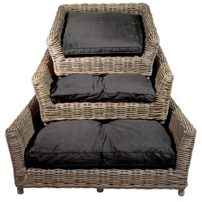 09/8015 Set 3 Oblong Grey Russel Pet Baskets with Cushions