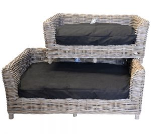 09/8016 Oblong Grey Russel Pet Baskets with Cushions