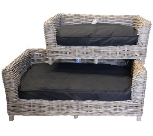 09/8016 Set 2 Oblong Grey Russel Pet Baskets with Cushions
