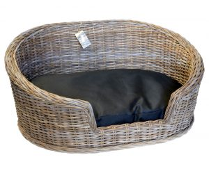 09/8204L Large Oval Grey Loebas Pet Basket with Cushion