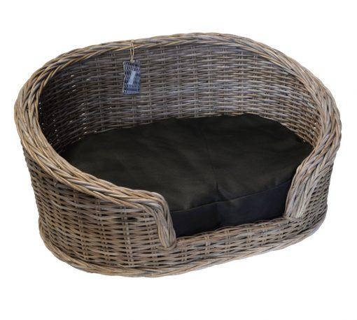 09/8204M Large Oval Grey Loebas Pet Basket with Cushion