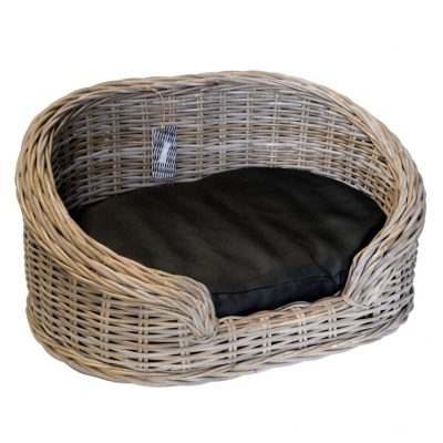 09/8204S Large Oval Grey Loebas Pet Basket with Cushion