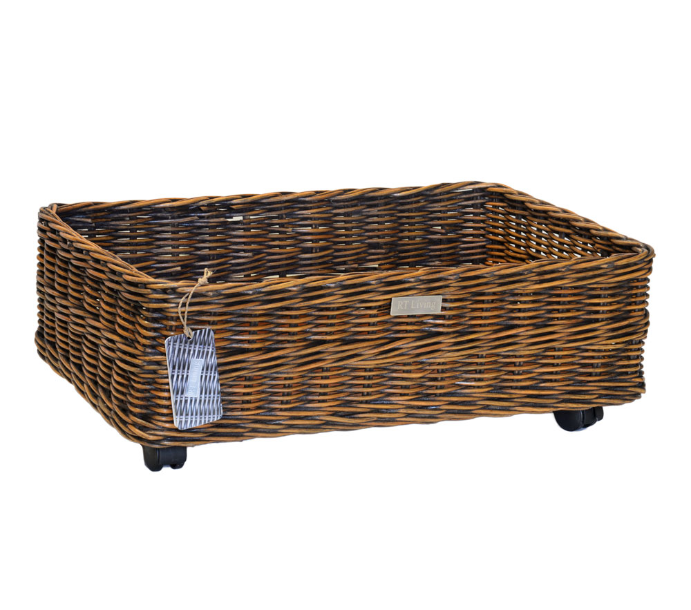 11/8205 Oblong Rattan Core Wheeled Underbed Storage Basket