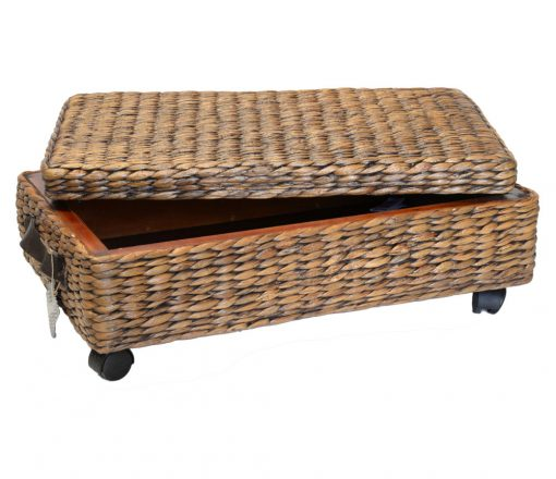 11/8206 Oblong Water Hyacinth Wheeled Underbed Storage Basket Open Lid