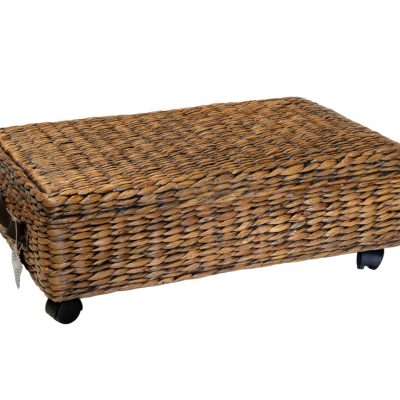 11/8206 Oblong Water Hyacinth Wheeled Underbed Storage Basket with Lid