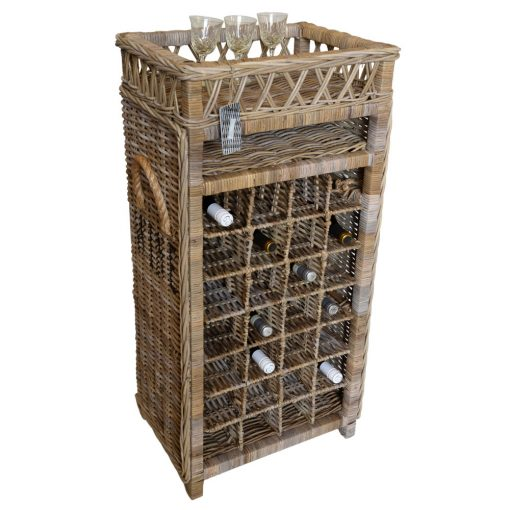 11/8031 Tall 28 Bottle Rattan Wine Rack Display