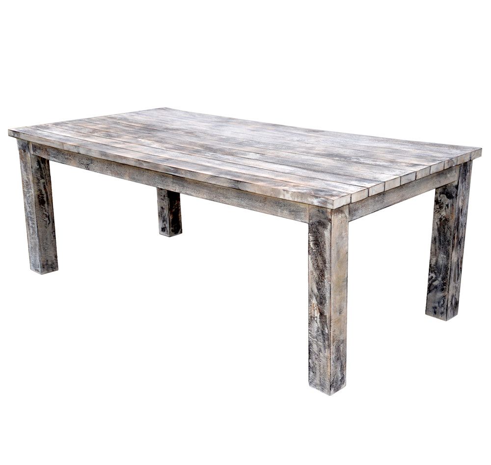 Large Oblong Mango Wood Dining Table Rustic White Wash Finish Roudham Trading