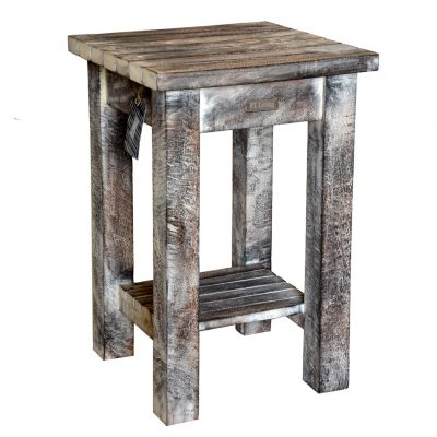 19/8033 Square Mango Wood Side Table Rustic White Wash Finish