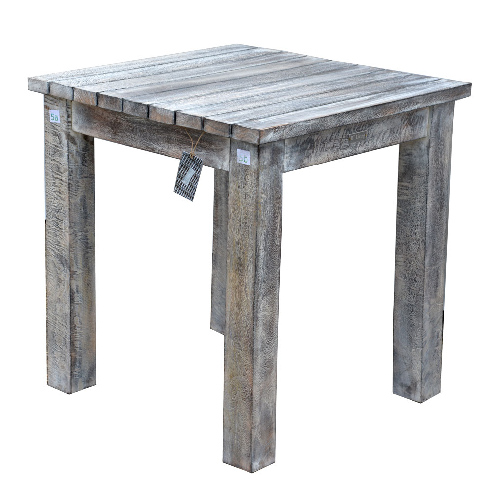 19/8034 Square Mango Wood Table Rustic White Wash Finish