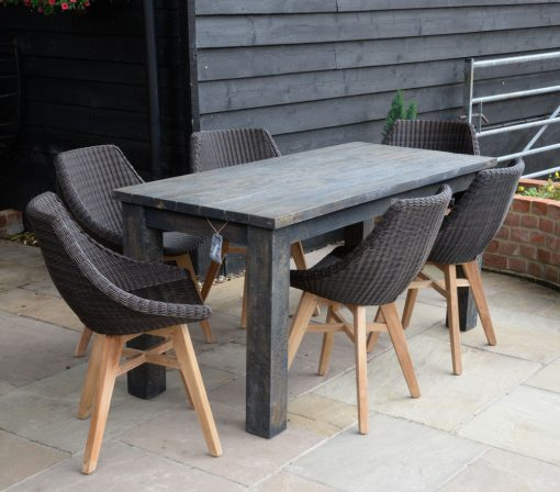 19/8035 Slim Dark Brown Wash Dining-Table with 16/7054 Obi All Weather Dining Chairs