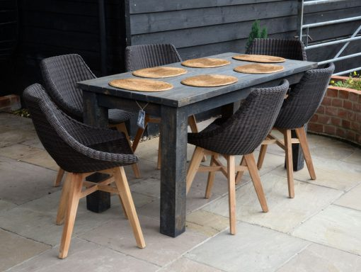 19/803 Slim Dark brown wash-Dining Table with 16 7054 Obi