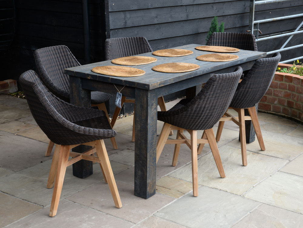19/803 Slim Dark brown wash-Dining Table with 16/7054 Obi All Weather Chairs