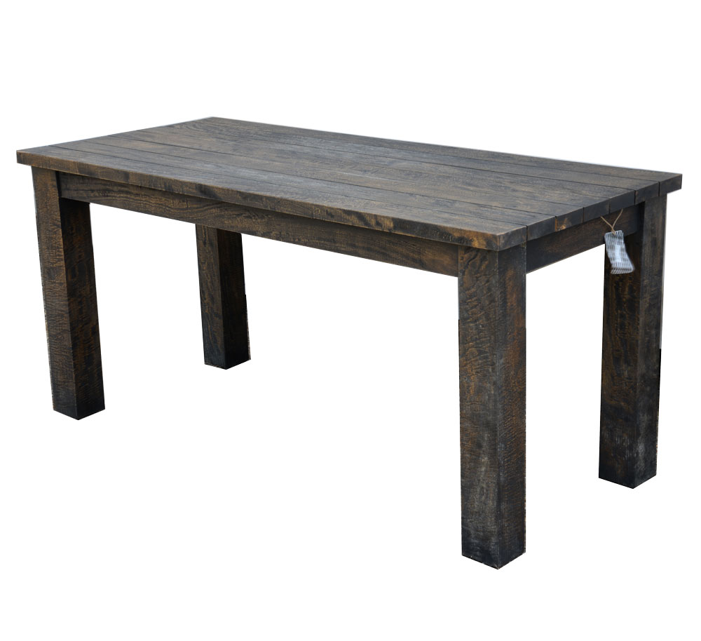 Slim Mango Wood Dining Table Rustic Dark Brown Finish Roudham Trading