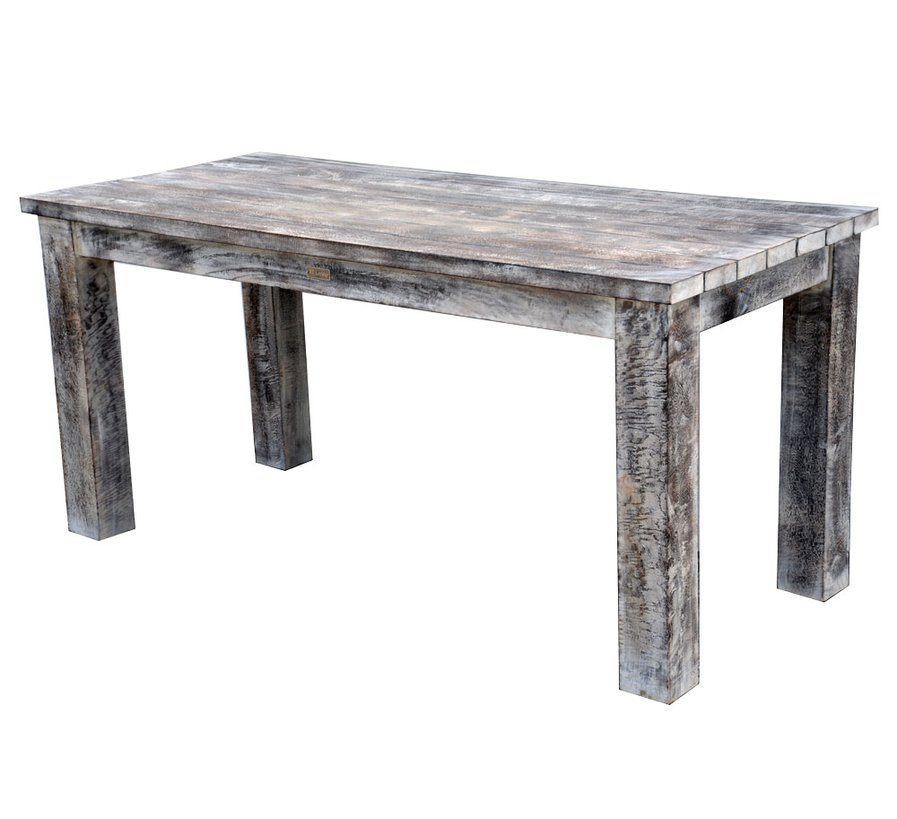 19/8035 Slim Mango Woo19/8036 Slim Mango Wood Dining Table Rustic White Wash Finish