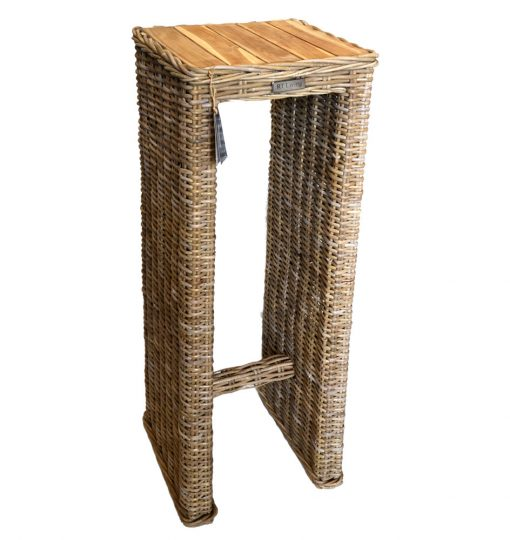 19/8038 Tall rattan Console Table with Mango Wood Top Natural Finish