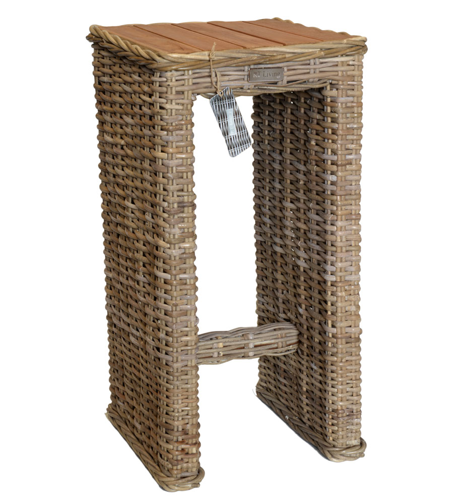 19/8039 Small Rattan Console Table with Mango Wood Top Natural Finish