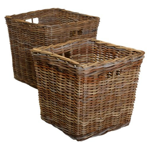 10/392 Set 2 Grey Square Log Baskets