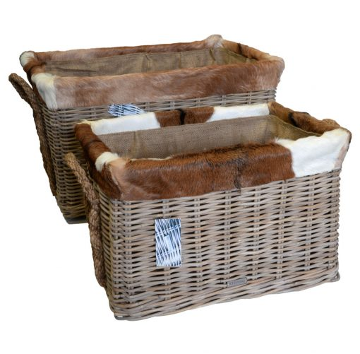 10/7033 Set 2 Grey Oblong Log baskets with wheels, Jute liner and Goat skin Trim