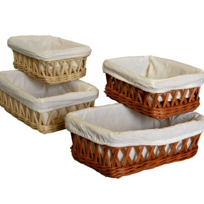 03/6291 Set of 2 Lined Natural or Tanned Oblong Trays