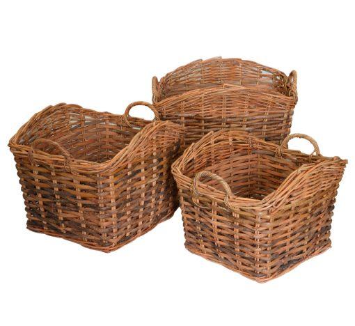 10/084S3 Set 3 Split Weave Log Baskets