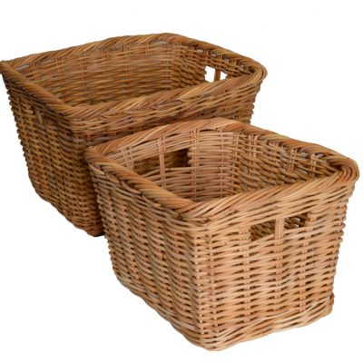 10/117N Set of 2 Oblong Natural Red Lacak Log Baskets