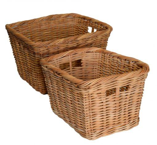 10/117N Set of 2 Oblong Natural Red Lacak Log Baskets