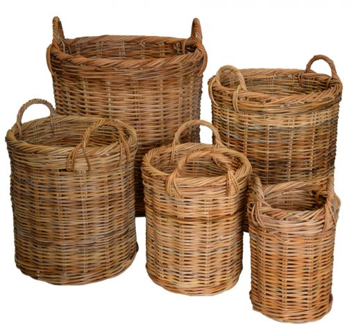 10/122N Set 5 Round Log Baskets Natural Red Lacak