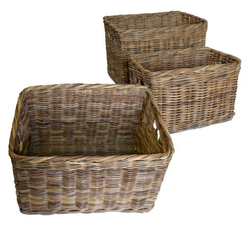 10/181G Set 3 Large Grey Oblong Baskets