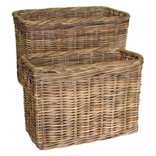 10/191G Set 2 Large Tall Grey Oblong Baskets