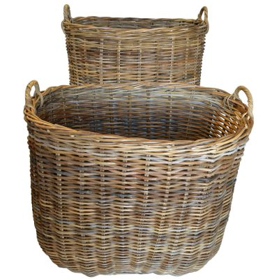10/086G Set 2 Giant Oval Grey Log Baskets