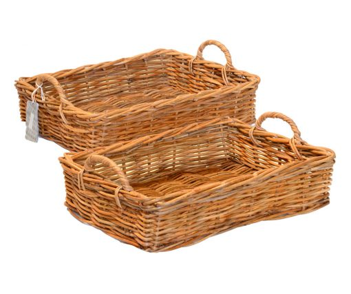 02/124S2 Set of 2 Oblong Eared Handled Storage Baskets