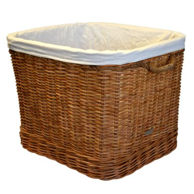 10/7122L Large Round Log Basket with Wheels