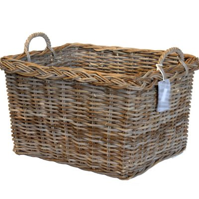 10/8005A Oblong Grey Log Basket