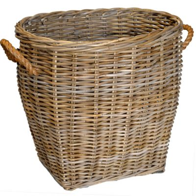 10/5002 Oval Grey Log Basket with rope handles
