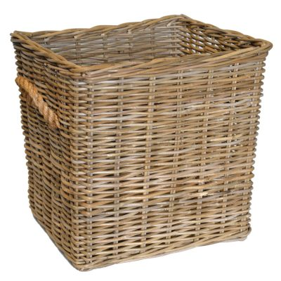 10/5003 Oblong Grey Log Basket with Rope Handles