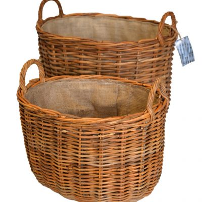 10/60817 Set 2 Oval Log Baskets with Jute Linings