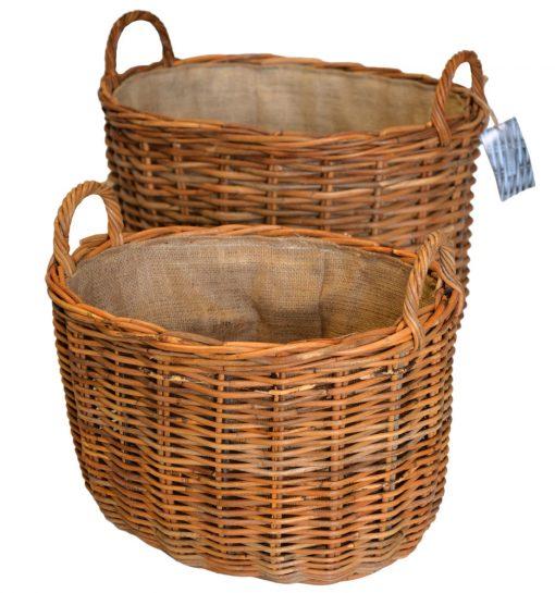 10/60817 Set 2 Oval Log Baskets with Jute Linings