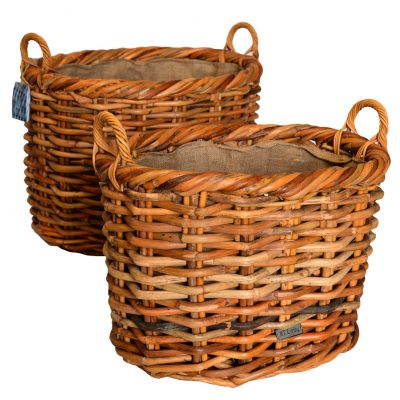 10/6161056 Set of 2 Large Oval Chunky Log Baskets with Jute linings