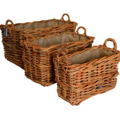 10/69325 Set 3 Large Oblong Chunky Log Baskets with Jute Linings